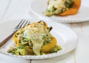 Spinach and Artichoke Quinoa Stuffed Peppers