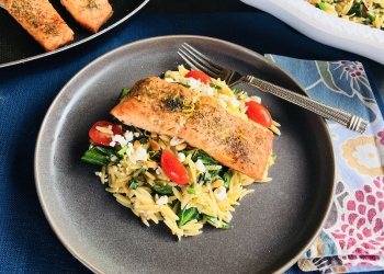 Roasted Salmon with Greek Lemon Spinach Orzo With Feta Recipe
