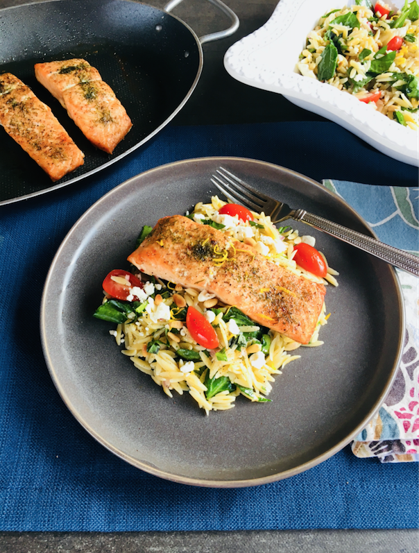 roasted salmon with orzo