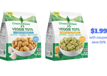 New Green Giant Veggie Tots Buy Two Get One Free and Coupon  – Save 50%