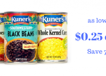 Kuner's Canned Tomatoes, Beans, & Vegetables as Low as $0.25
