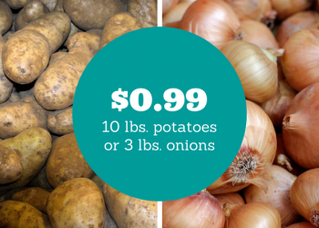 10 Pounds of Russet Potatoes or 3 Pounds of Yellow Onions for $0.99