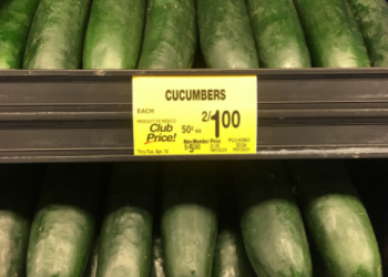 Cucumbers for $0.50 Each