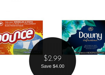 Downy or Bounce Dryer Sheets for $2.99 (105 Sheets)