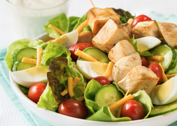 Chef Salad With Grilled Chicken Skewers