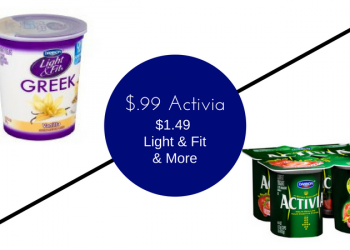 Dannon Yogurt Sale – $0.99 Activia 4 Packs, $1.49 Light & Fit Quarts, & More