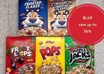 Select Kellogg's Cereal Only $1.09 at Safeway – Save up to 76%