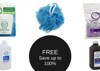 FREE Signature Care Cotton Balls, Rubbing Alcohol, Hydrogen Peroxide, Floss, or Bath Poof