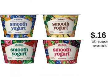 Chobani Smooth Cups Coupon and Sale, Pay Just $.16 each Cup