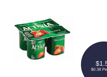Dannon Activia Yogurt 4 Pack for $1.50 ($0.38 Per Cup)