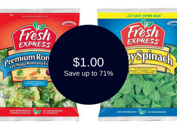 Fresh Express Salad or Spinach Coupon, Only $1.00 (Save up to 71%)