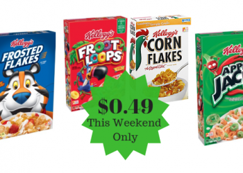 Kellogg's Cereal Only $0.49 This Weekend Only (Save up to 90%)