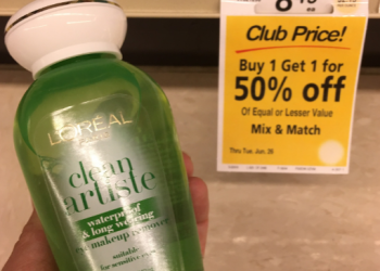 L'Oreal Paris Coupon, Pay $4.87 for Clean Artiste Eye Makeup Remover