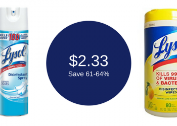 Lysol Disinfecting Spray & 80 Count Wipes for $2.33 Each