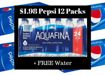 Pepsi 12 Packs for as Low as $1.98 + FREE Aquafina 24 Pack