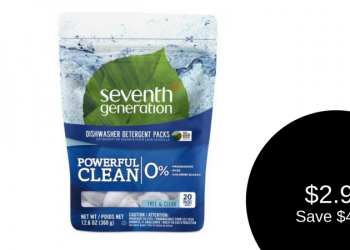 Seventh Generation Dishwasher Detergent Packs for $2.99 (Save $4.00)