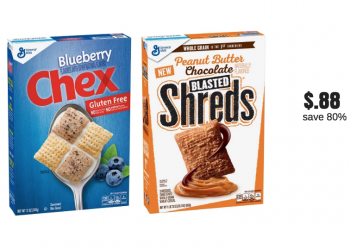 $.88 Chex Cereal and Peanut Butter Chocolate Blasted Shreds Cereals (Reg. $4.49)