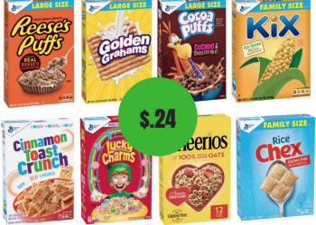 New General Mills Large Size Cereal Boxes – Cheerios, Chex, Lucky Charms & More Just $.24