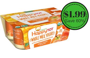 Happy Tot Organic Whole Milk Yogurt Only $1.99 (Save 60%)