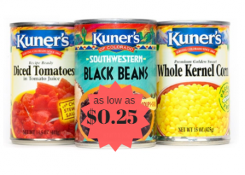 Kuner's Canned Beans, Tomatoes and Vegetables as Low as $0.25