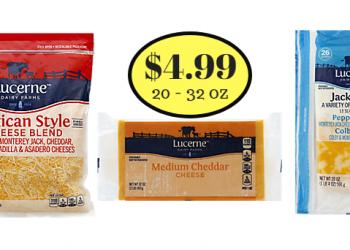 Lucerne Cheese – Shredded, Block, or Sliced Only $4.99 (20 – 32 Oz.)