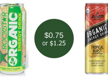 AMP Energy Organic for $0.75 & Rockstar Organic for $1.25