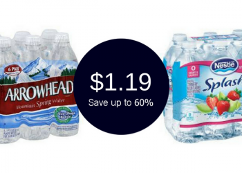 Arrowhead & Nestle Splash Water 6 Packs for $1.19 (Save up to 60%)