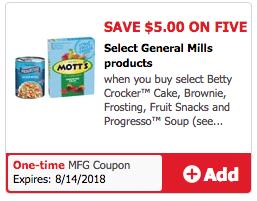 $5 off 5 Betty Crocker Coupon