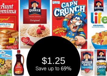 Quaker Oats, Cereal, Granola Bars and Aunt Jemima Products $1.25 With Coupon
