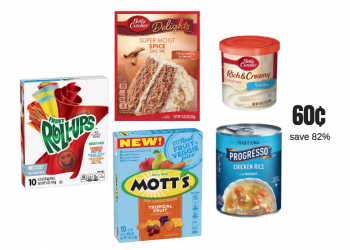Stock up on Betty Crocker Fruit Snacks, Cake Mix, Frosting and Progresso Soups Just 60¢ each!