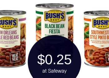 Save on Bush's Savory Beans or Baked Beans at Safeway