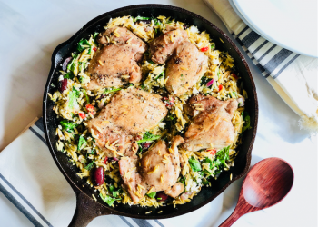 One Pot Greek Skillet Chicken and Orzo