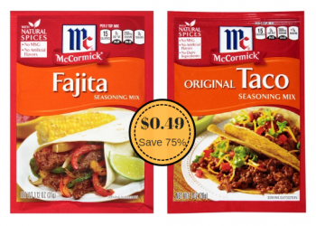 McCormick Taco & Fajita Seasoning Just $0.49 – Ends Today (8/7)