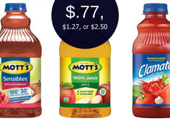Mott's Sensibles Juice $0.77, Apple Juice $1.27, or Clamato $2.50