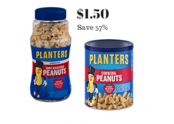 Get Planters Cocktail Peanuts or Dry Roasted Peanuts for Just $1.50 With Coupon