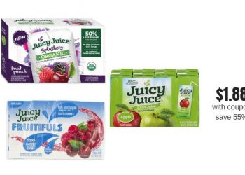 Juicy Juice Splashers and Fruitfuls Organic Juice Boxes 8 Ct. Just $1.88 each