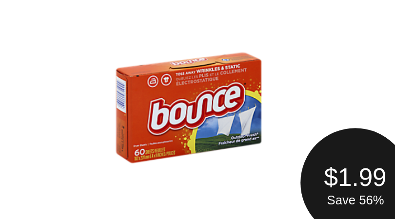 Bounce Coupon = $1.99 for Fabric Softener