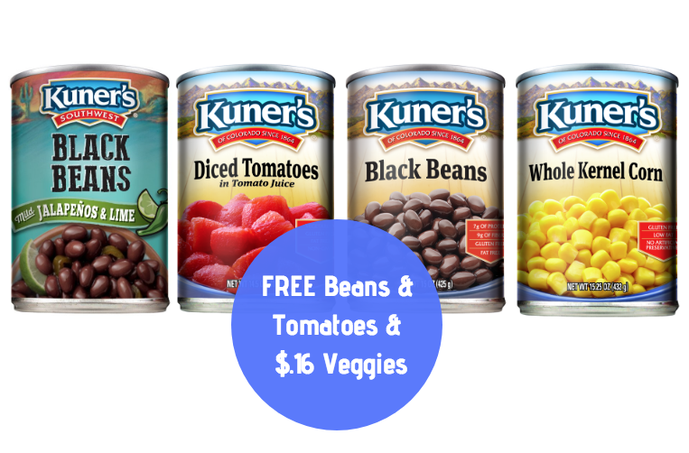 8 FREE Kuner's Tomatoes & Beans + 6 Cans of Veggies for $0.16 Each