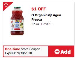 O Organics Agua Fresca Coupon