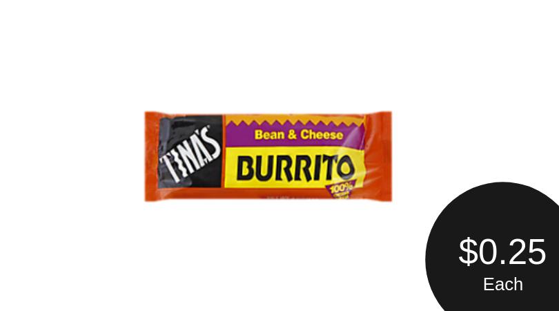 Tina's Burritos for Just a Quarter Each (No Coupons Needed)