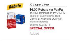 Budweiser or Bud Light 12 Packs Just $6 24 Each After Cash Back at