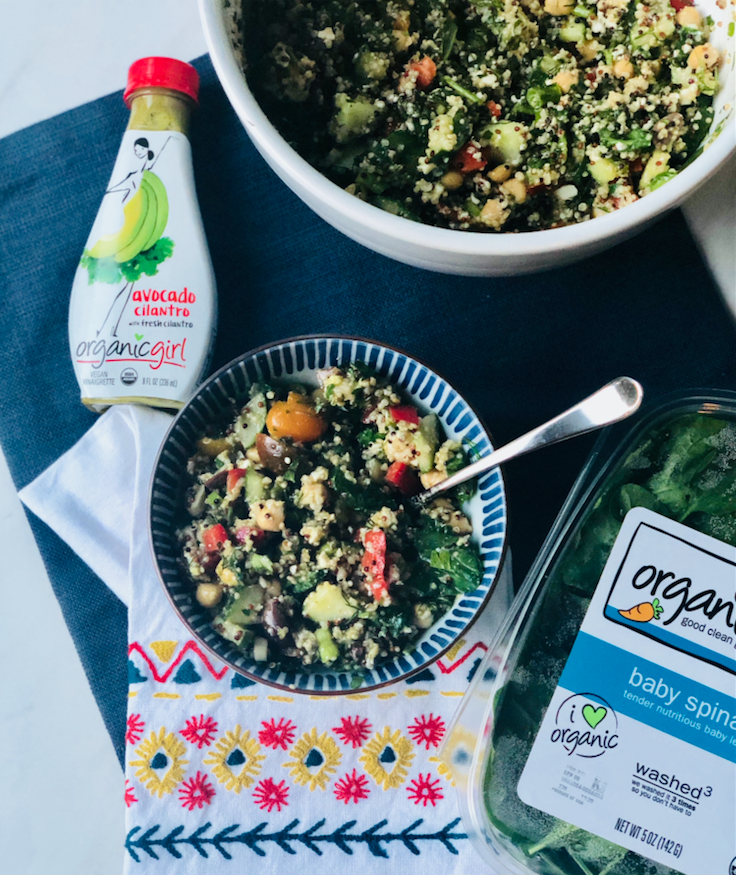 spinach quinoa salad with avocado