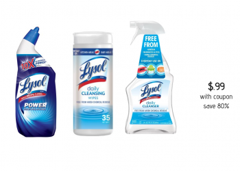 $.99 Lysol Daily Cleanser, Wipes and Toilet Bowl Cleaners With Coupon and Sale at Safeway