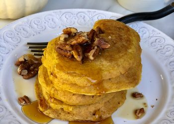 Fluffy Pumpkin Pancakes With Pecan Maple Syrup
