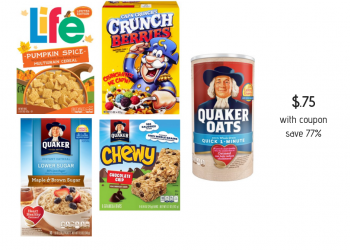 Quaker Cereal, Oats, Oatmeal & Granola Bars Deal = Only $0.75 Each