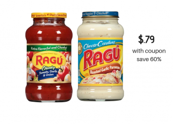 Ragu Pasta and Alfredo Sauce Just $.79 With Coupons at Safeway