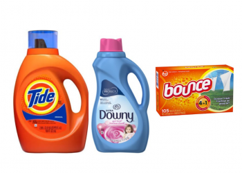 Get Tide 100 oz Detergent for $.12/load and Downy and Bounce for $.03/load