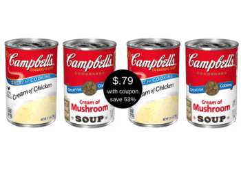 New Campbell's Cream of Chicken or Mushroom Soup Coupons and Sale at Safeway