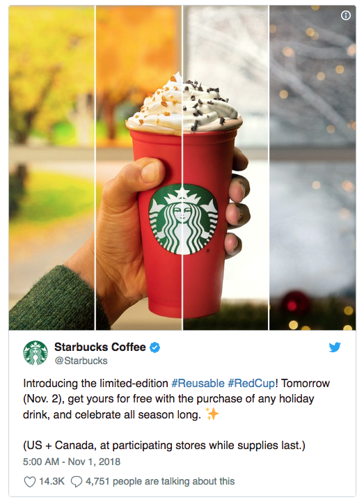 Starbucks 2018 holiday drinks: You can get a free, reusable