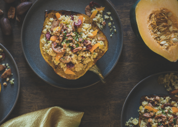 Stuffed Acorn Squash Recipe With Apples, Sausage and Cranberries